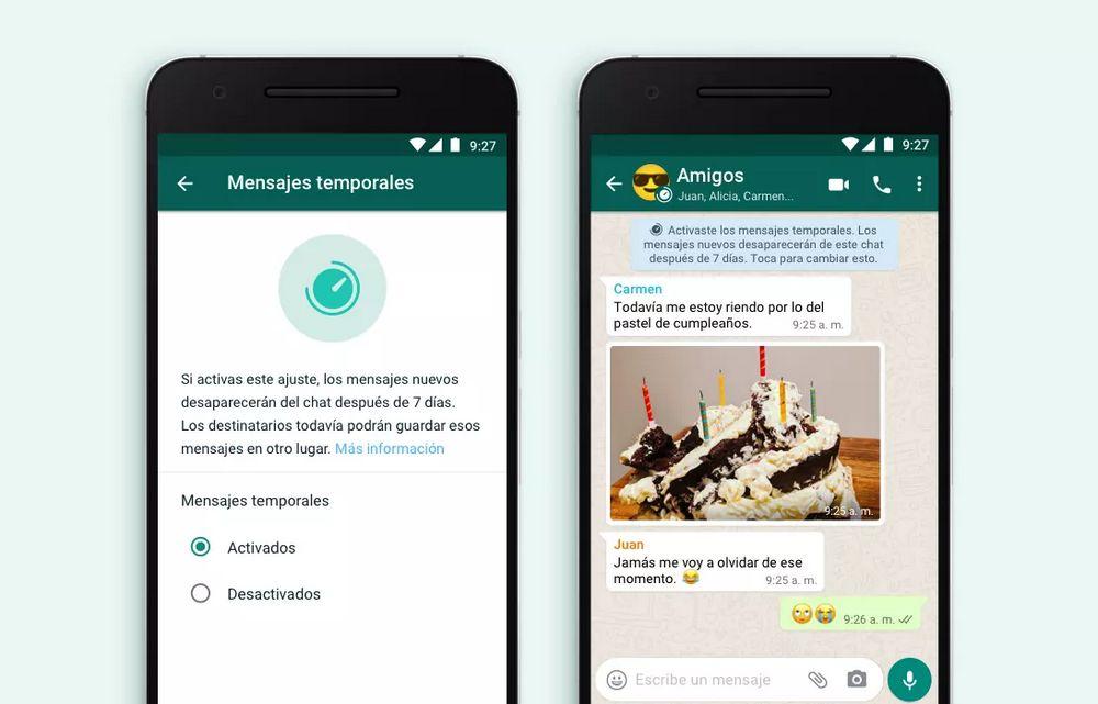 WhatsApp - Mensajes Temporales