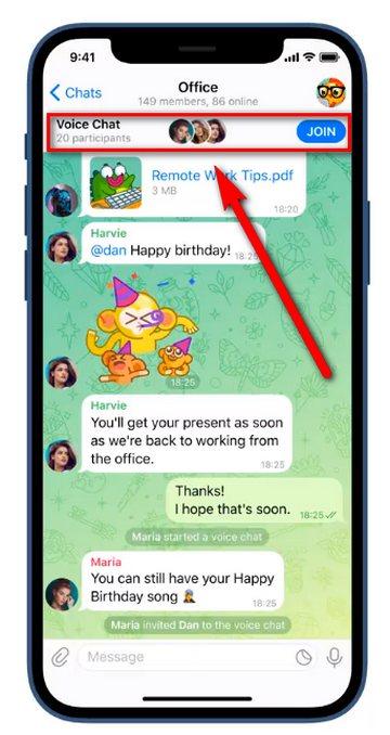 Telegram - Grupos - Chat de voz siempre activos