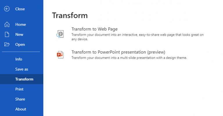 Mocrosoft Word - PowerPoint - Transformar
